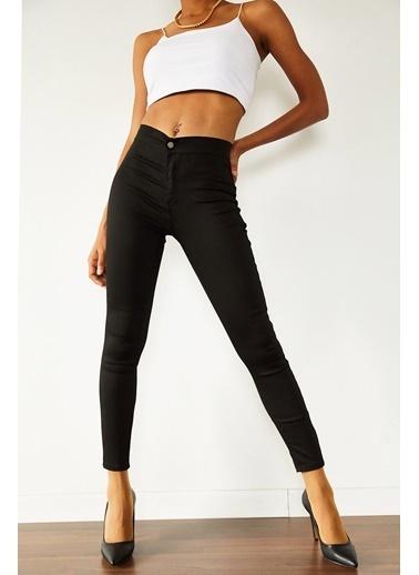 XHAN Siyah Yüksek Bel Jean Pantolon 1Kxk5-44524-02 Siyah